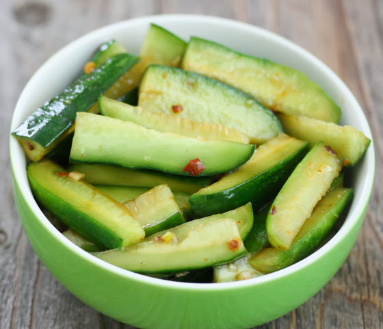 overhead photo of Chinese Spicy Cucumber Salad