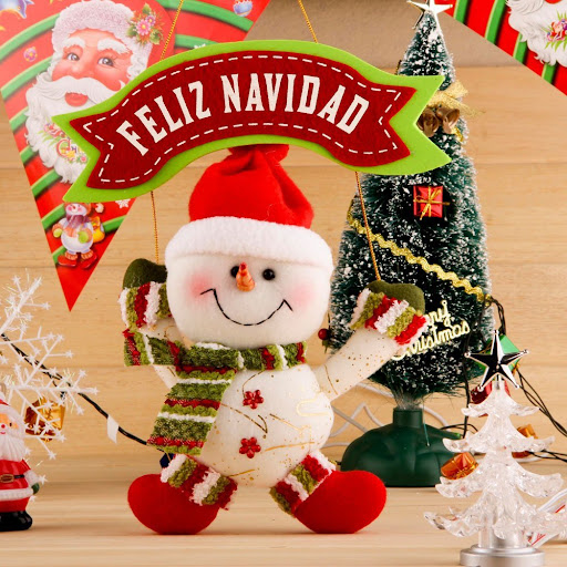 FELIZ NAVIDAD Hanging Christmas Decoration with Santa Claus in White & Red -- 30cm*25cm