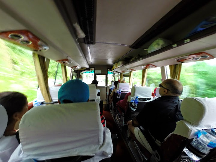 Inside the tourist bus, most of them were foreign tourists