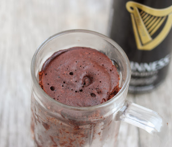 close-up photo of Guinness Stout Chocolate Mug Cake