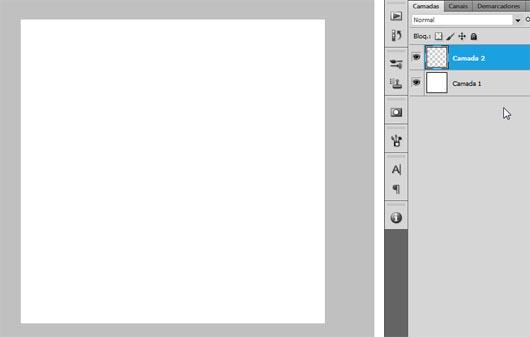 Novo documento, camada branca para o fundo, e nova camada vazia acima