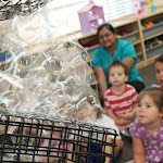 These preschoolers at our Huntington Pier campus were fascinated by the way the bubbles bunched together in this bubble science presentation during Montessori summer camp.