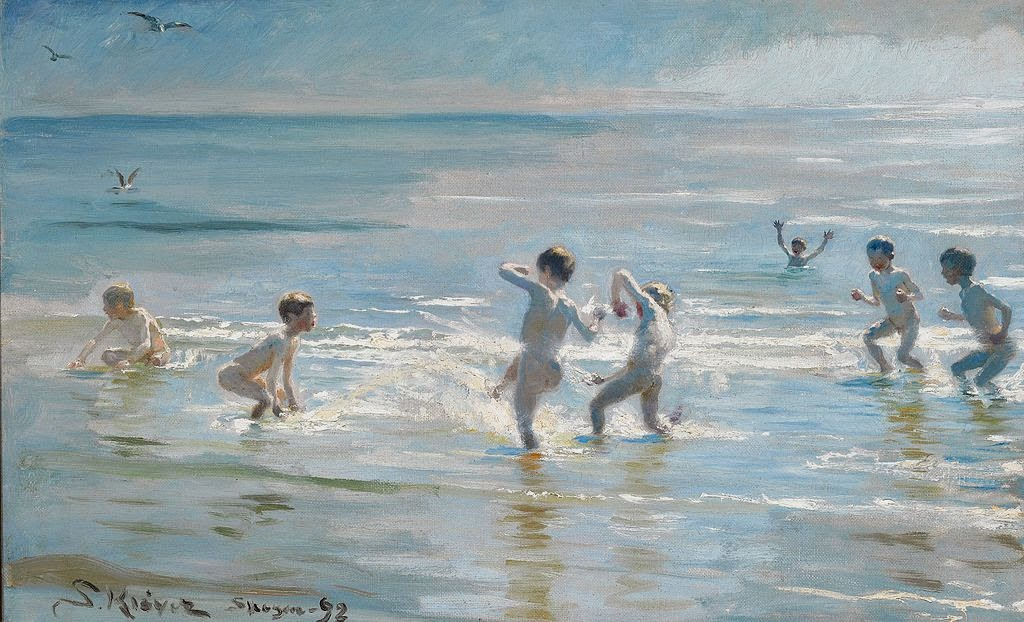 Peder Severin Krøyer - Boys bathing on a summer evening at Skagen Beach