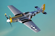 P51 Mustang Thunderbolt sailing over J/160s in Penobscot Bay, Maine