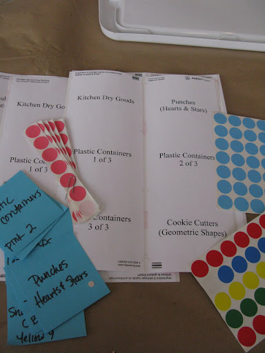 Our labeling system is slightly Montessori inspired. Colors and numbers indicate closets and shelf locations.