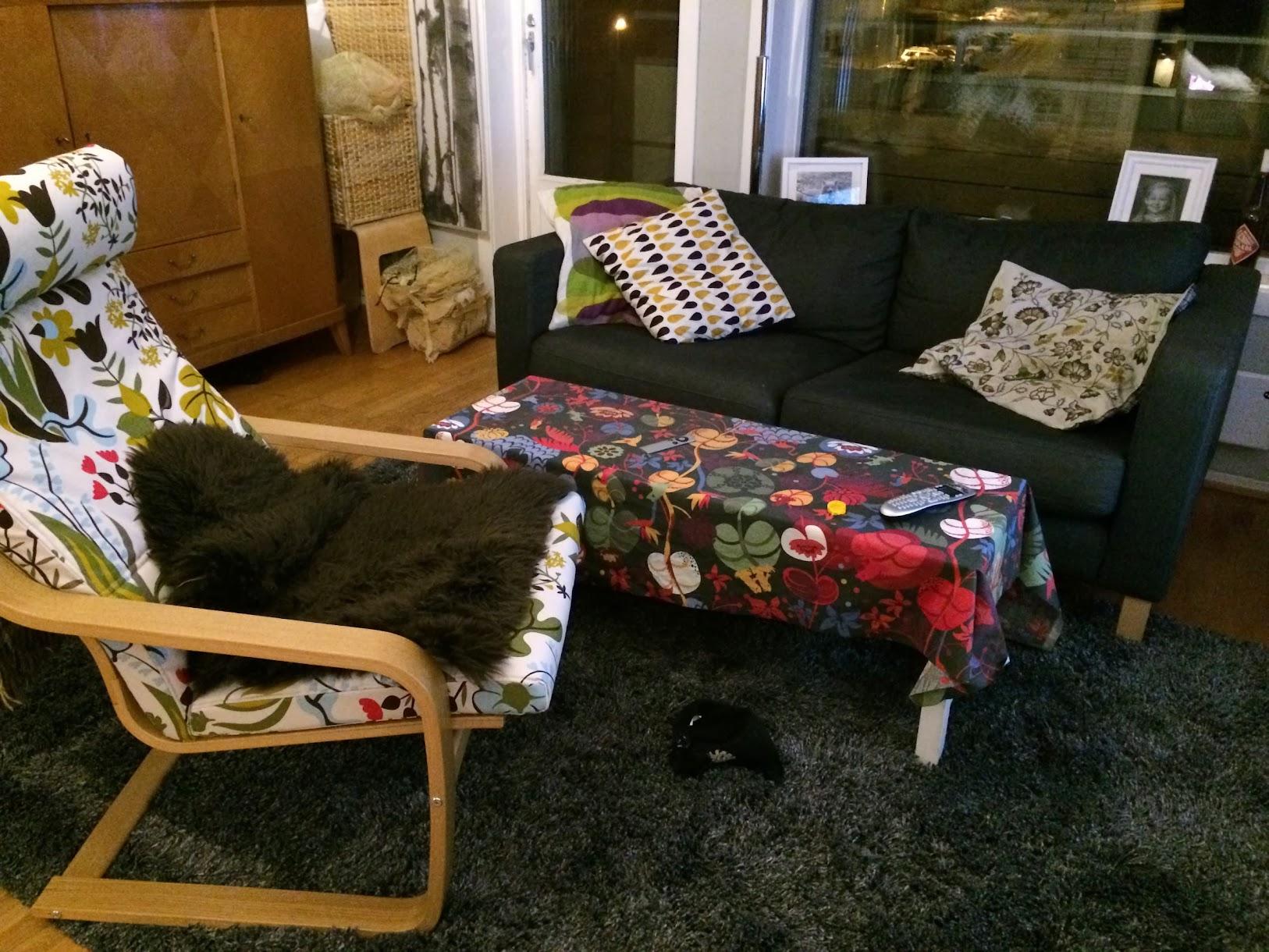 Bilde av stua som er ommøblert