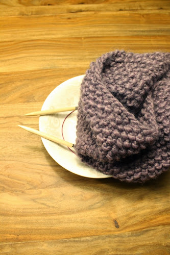 Coll de punt d'arròs / Seed stitch knitted cowl