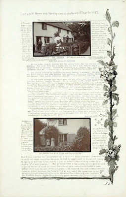 A Record of Shelford Parva by Fanny Wale P72  fo. 74, page 72: A photograph of The Terrace with Arthur Carter, Mrs. Nunn and baby; description of east end group of cottages 1912 and 1915. At the bottom of the page is another photo of Mrs. Jackson and Edith Payne. A watercolour of foliage borders the writing. [fo.57, but lacking border, instead within mount B]