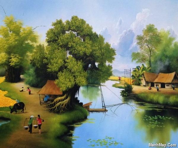 thơ lục bát nhớ cảnh làng quê