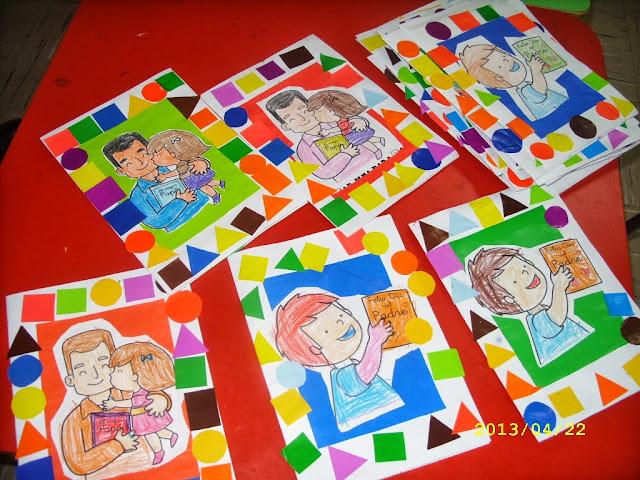 Tarjetas con dibujos coloreados y decoradas con figuras geométricas