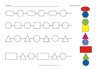 Lámina de comparación utilizando las formas básicas como el cuadrado, el círculo, el rectángulo, el triángulo, el óvalo, el hexágono. Colorea las series como se indica