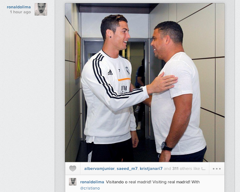 Ronaldo met Ronaldo at Real Madrid training today