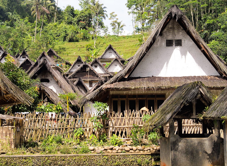 The thatched roofs of Kampung adat Naga