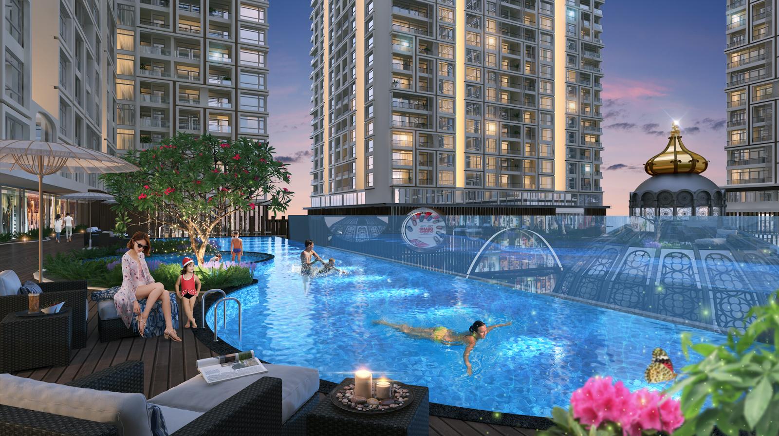 Bể bơi ngoài trời dự án Hinode City Minh Khai