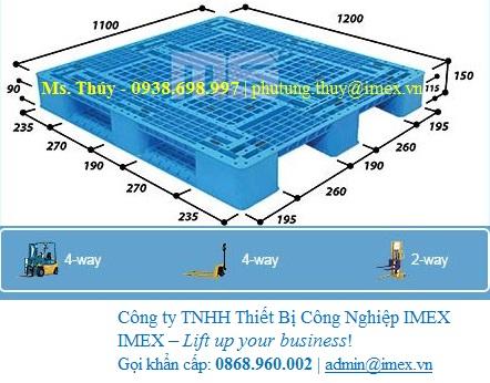 Pallet nhựa nhập khẩu 1200 x 1100 Malaysia