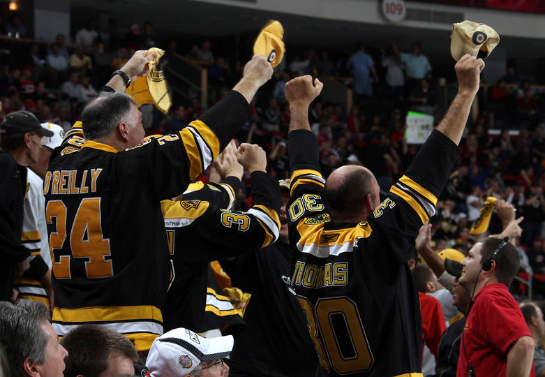 Boston Bruins fans cheer