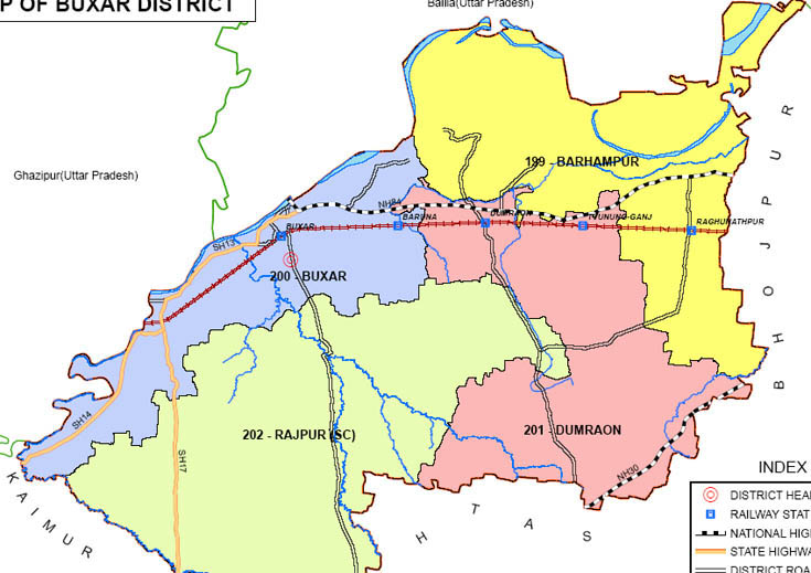 buxar district bihar assembly elections 2015 constituency map image