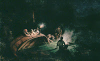 Canoe Party around Campfire. 1870. Oil on canvas