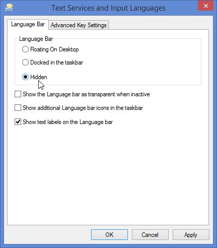 Tắt thanh ngôn ngữ trong Windows 10/8.1