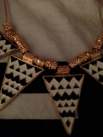 Ebay Black and White Triangle Necklace