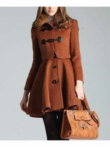 Stylish long brown trench coat with brown handbag for fall