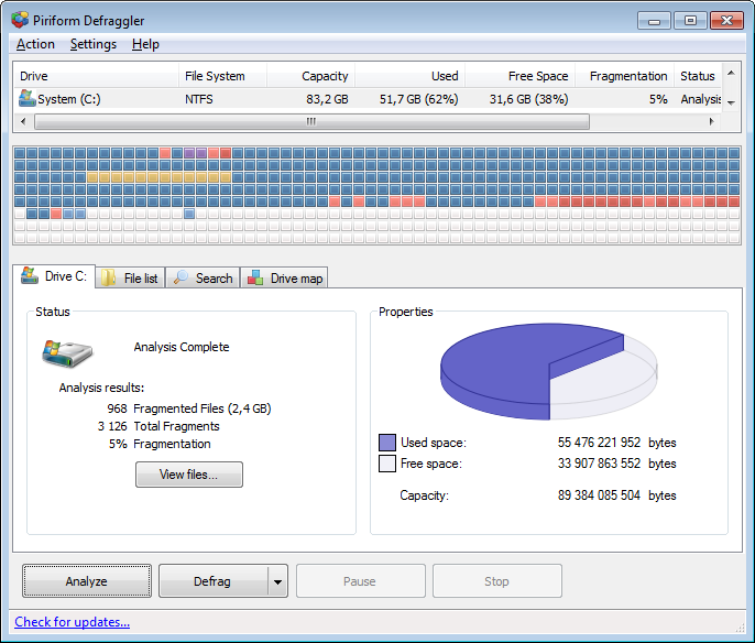 Screenshot of Defraggler v.2.15.741 System Utility PC Software Free Download at Alldownloads4u.Com