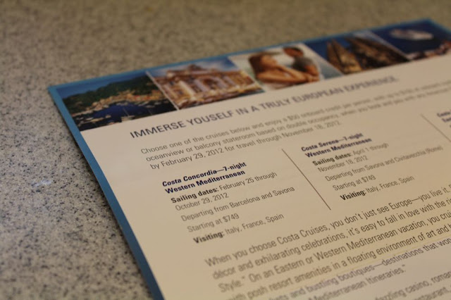 a pamphlet advertising Costa Cruise Lines, with a listing for the Costa Concordia