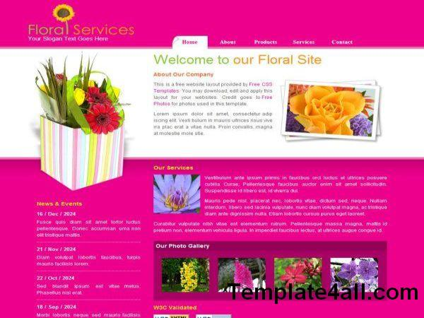 Free Floral CSS Pink HTML Website Template