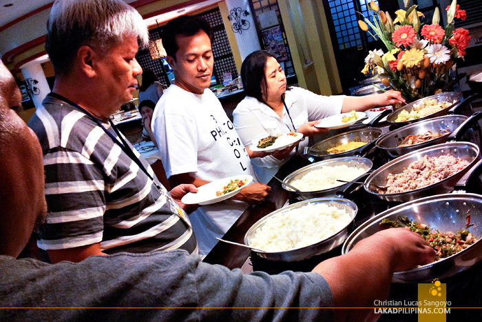 Lining Up at the Buffet Table at Waway's Restaurant in Legazpi City