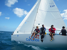 J/80 one-design sailboat- sailing off Lanzarote, Canary Islands