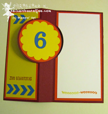 stampin up, flip card, kid's birthday, kindergeburtstag junge, fire brigade, feuerwehr, flip card
