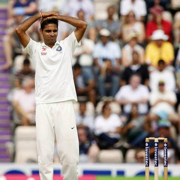 India's Bhuvneshwar Kumar reacts after bowling during play on the first day of the third cricket Test match between England and India at The Ageas Bowl cricket ground in Southampton on July 27, 2014
