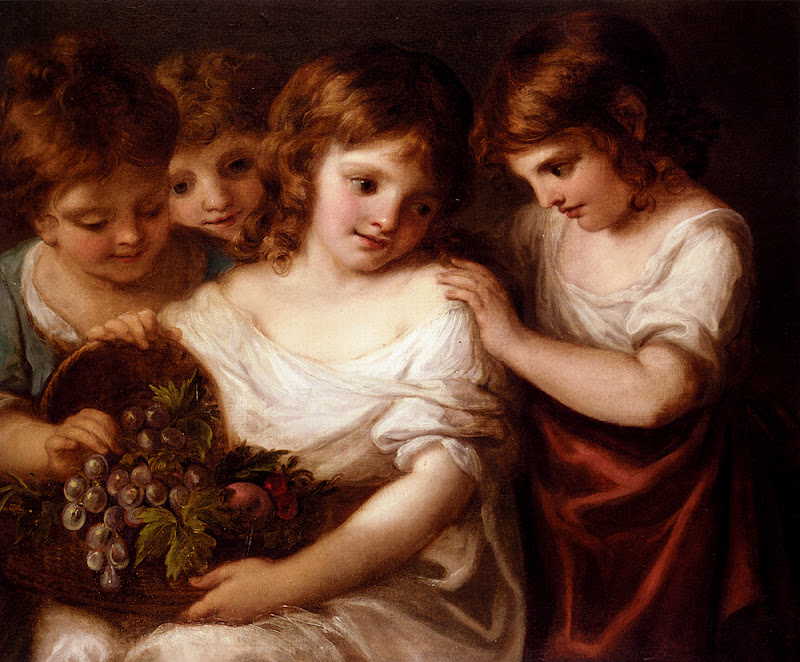 Angelica Kauffmann - Four Children With A Basket Of Fruit