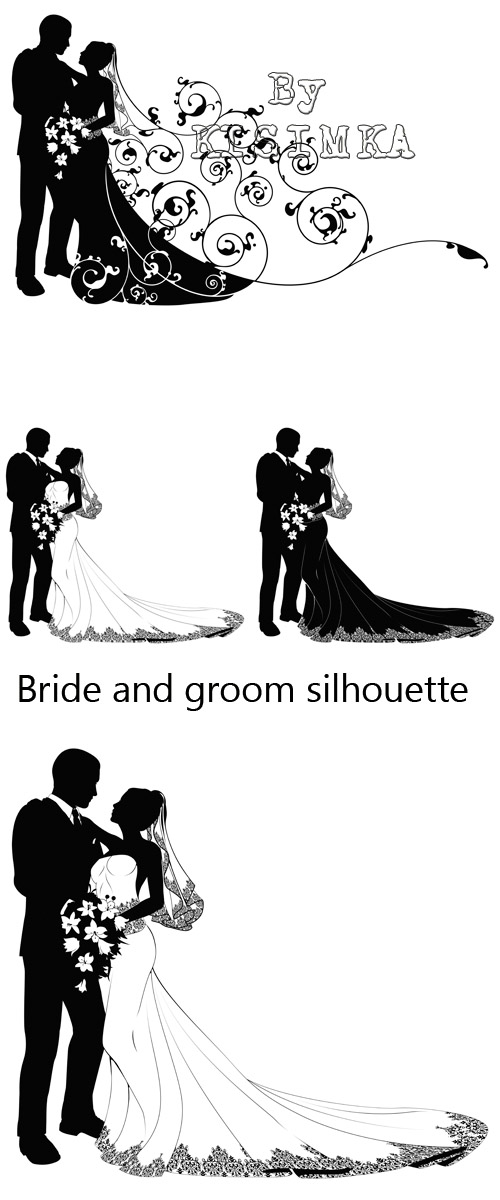 Stock: Bride and groom silhouette
