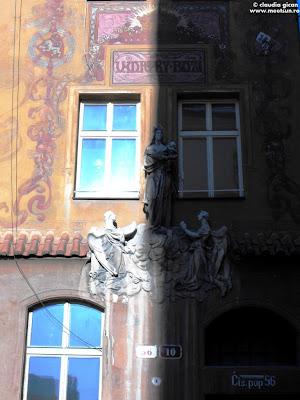 Pilsen, Cehia - Centrul vechi - detalii de arhitectura intre umbra si lumina