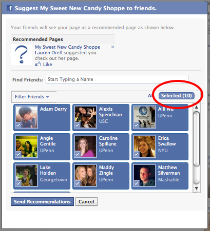 Send Facebook Page Recommendations