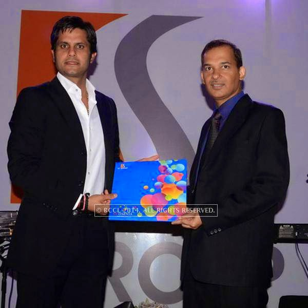 Ashok Singh Jaunapuria and Manoj Shukla during the SS Group launch party, held  at Taj Vivanta, in Gurgaon.<br />