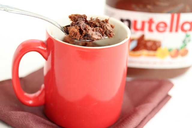 photo of a spoonful of Nutella lava brownie mug cake