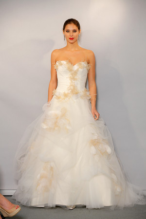 Gold and ivory wedding gown by Anne Barge