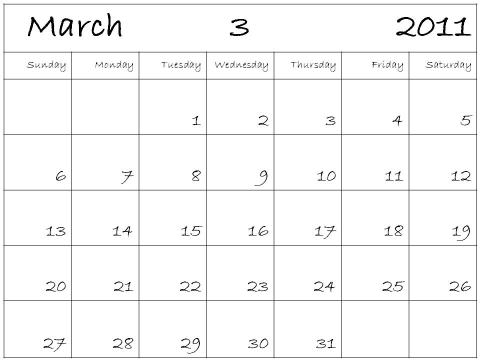 blank march 2011 printable calendar. dresses Printable Blank March