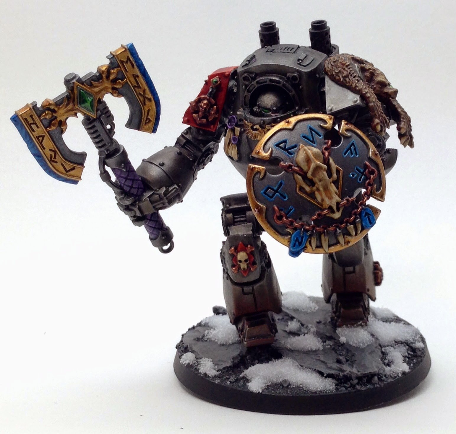 Space wolf dreadnought conversion with frost axe and blizzard shield