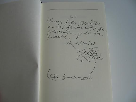Dedicatoria de Antonio Gamoneda a Julio González en Esta Luz