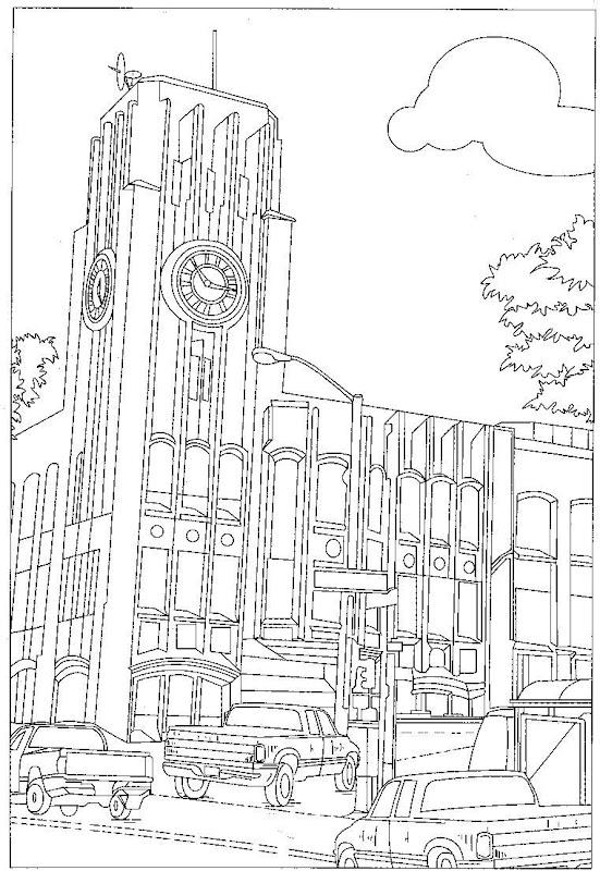 Pinto Dibujos: Edificio con reloj en ciudad para colorear