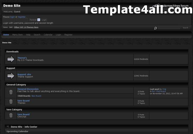 Free SMF Dark Black Theme Template