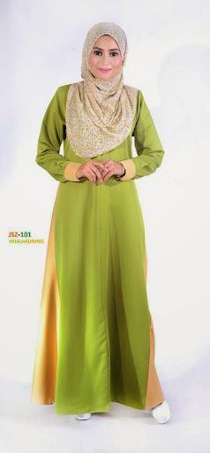 Jubah Nursing Friendly Jubah Menyusu Lavenzi Cotton Online Murah Hijau Kuning