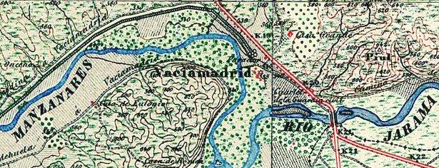 Situación del antiguo pueblo de Vaciamadrid. Mapa geográfico nacional 1878.