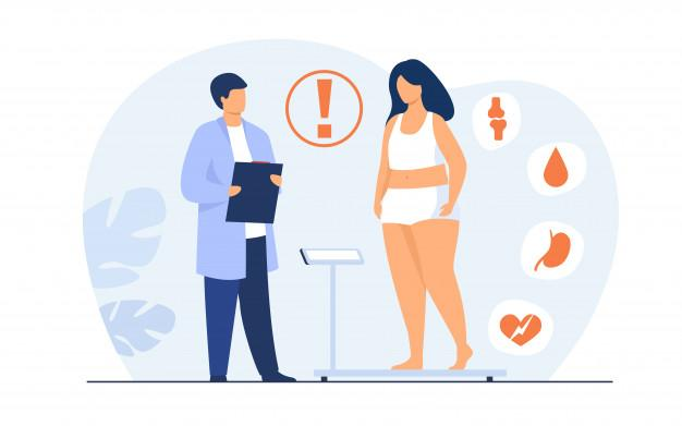 Fat patient visiting doctor Free Vector