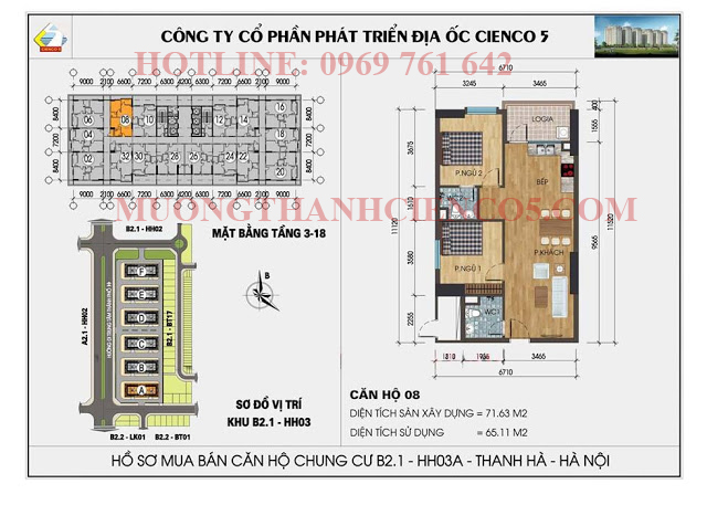 Sơ đồ chi tiết căn hộ chung cư b2.1 HH03A căn 08