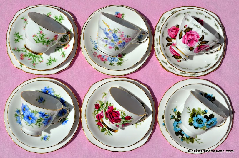 Mismatched floral teacups with beautiful flowers