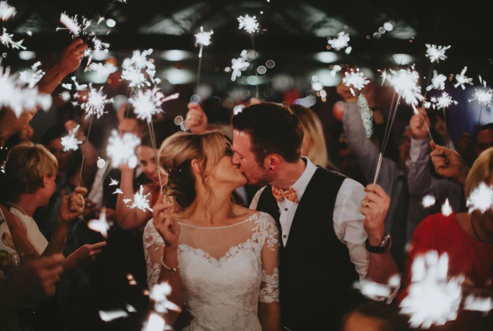 exit wedding reception sparkler send off